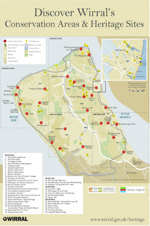 Map of Wirral's Conservation Areas and Heritage Sites